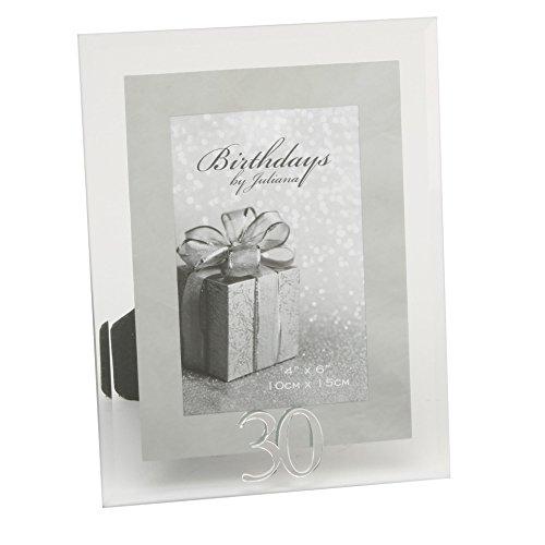 Oaktree Gifts 30th Glass & Mirror Photo Frames 4 x 6 30th Birthday Photo Frames