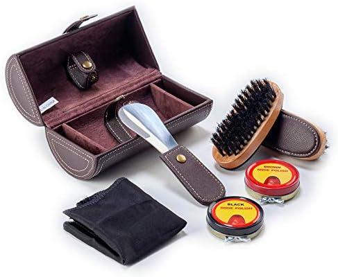 CORDAYS Estuche Viaje Limpieza Zapatos - Caja Kit Abrillantado de Calzado - Hecha a Mano en Piel Sintética Color Marrón. - CDM-00109: Amazon.es: Hogar