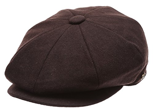 Men's Classic 8 Panel Wool Blend Newsboy Snap Brim Collection Hat (X-Large, -
