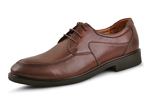 Happyshop (tm) Heren Koe Lederen Klassieke Cap-toe Oxford Formele Schoenen Lace-up Zakelijke Schoenen Bruin