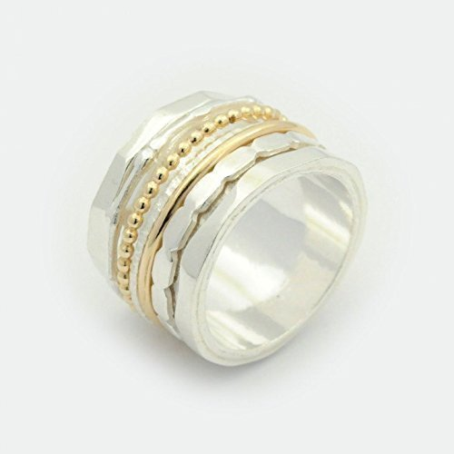 Amazon Com Mixed Metals Spinner Rings For Women Silver And Gold