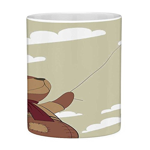 Lead Free Ceramic Coffee Mug Tea Cup White Cartoon 11 Ounces Funny Coffee Mug A Melancholic Teddy Bear with Scarf Holding a Balloon Clouds in the Sky Clipart Beige Cinnamon