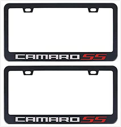 Auggies Camaro SS Black Red Stainless Steel Black License Plate Frame Cover Holder Rust Free with Caps and Screws 2