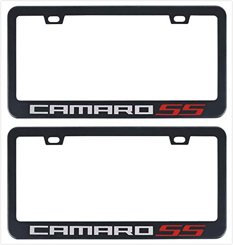 Auggies Camaro SS Black Red Stainless Steel Black License Plate Frame Cover Holder Rust Free with Caps and Screws (2)