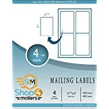 """Shop4Mailers 4-Up White Shipping Labels 4 1/4"""" x 5 1/2"""" ~ 100 Sheets, 400 Labels"""
