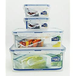 Lock & Lock Plastic Food Storage Airtight Container Set (2300ml/78oz+1000ml/34oz+(180ml/6oz×2))