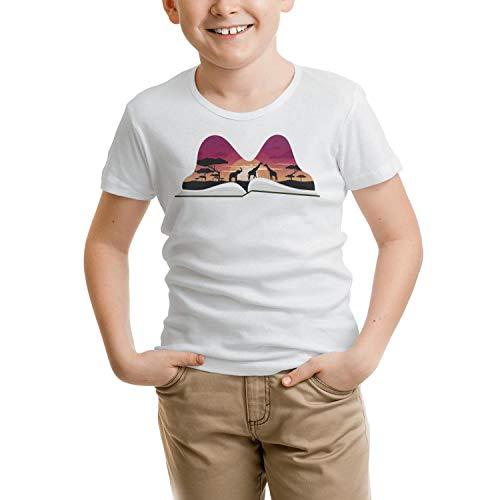 Pop book with africa giraffe animal Unisex Child white tshirt Cotton short sleeve lovely tshirts by Wankens