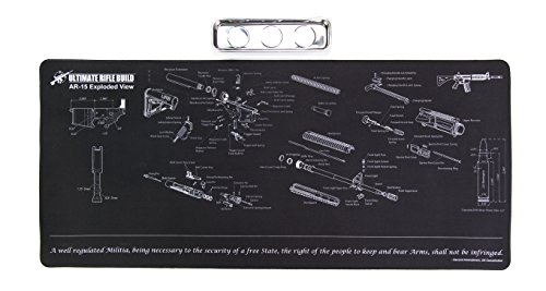 (Ultimate Rifle Build X-Large Gun Cleaning Mat with Exploded Parts Diagram & Bonus Magnetic Parts Tray; Non-Slip & Solvent Resistant pad; Stitched Edges - 36x16)