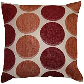 Violet Linen Deluxe Chenille Jacquard Circle S Design Decorative Throw Pillow, 17 x 17 , Burgundy Copper