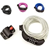 SafeBest Bike Lock, Combination Cable Bicycle Lock, Resettable. Black, Blue, Pink, and White Colors Available. Most Popular 6-foot Length Safest Lightweight Lock. Best Value Bike Lock Cable.