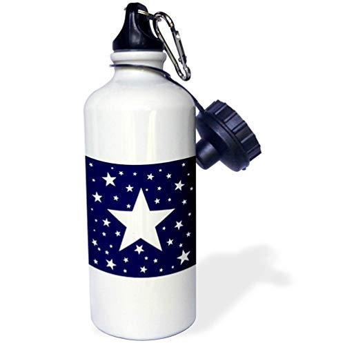 3dRose Alexis Design - America - Fifty Stars Of Freedom. Large, small white stars on navy blue - 21 oz Sports Water Bottle (wb_288371_1) by 3dRose