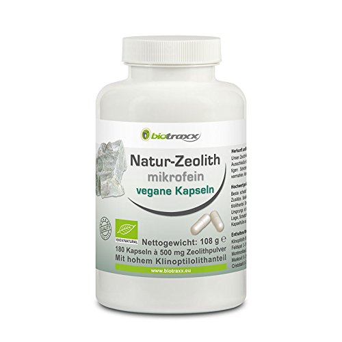 Biotraxx Natural micro fine Zeolite with a Clinoptilolite proportion of approx. 95%. 180 capsules 500mg each. Made in Germany. For Sale