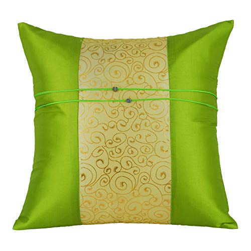 Tom Barrington Home Silk Throw Pillow Cover Green, Ivory & Gold Brocade, Accent Cushion Cover (16 x 16) (Green And Gold Cushions)