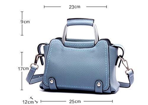 Bolsos de señora Xinmaoyuan Litchi patrón señoras bolsos de cuero Bolso Bolsa Bolsa alas,azul Blue