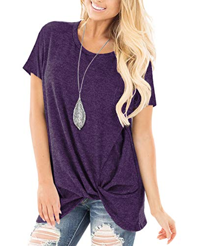 ZILIN Women's Cold Shoulder T-Shirt Long Sleeve Knot Twist Front Tunic Tops (WW-Purple, L) (Graphic T-shirt Tunic)