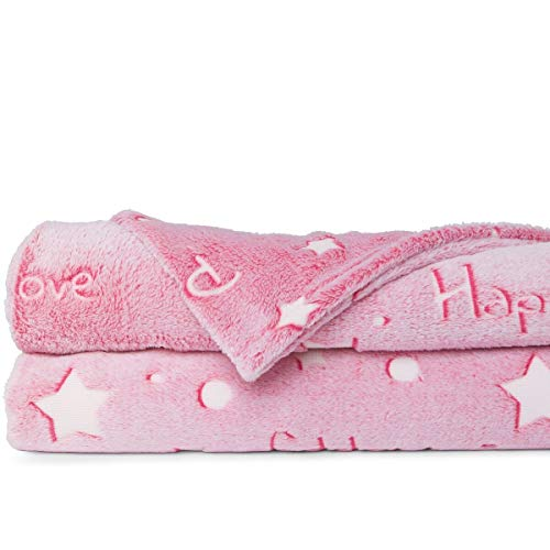 """LIDERSTAR Glow in The Dark Throw Blanket, Super Soft Fuzzy Plush Fleece,Decorated with Stars and Words of Encouragement, Valentines Day Birthday Gift for Girls Kids Women Teens Toddlers,Pink,50""""x 60"""""""
