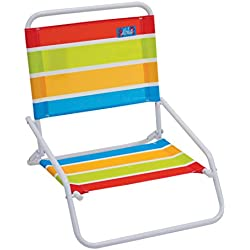 RIO Beach Wave 1-Position Beach Folding Sand Chair - Bright Stripes