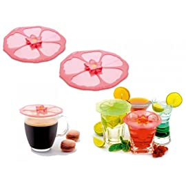 """Charles Viancin Drink Covers or X-Small Lids - Set of 6 Hibiscus, Sunflower and Lily Pad 75 Set of 6 (2 hibiscus, 2 sunflower, 2 lily pad) 4"""" covers perfect for cocktails or small bowls FDA food grade silicone"""