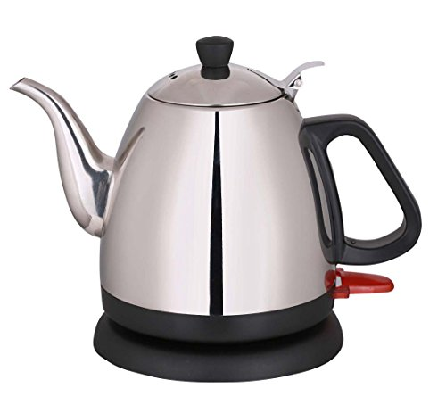 Wollin Electric Kettle 1 L | Durable & Rust Proof Stainless Steel Design | Ergonomic Handle With Curved Gooseneck For Spill Free Pouring | Fast & Cordless Teapot For Coffee, Boiling Water, Tea & More (Electric Teapot Personal compare prices)