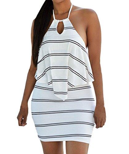 Huusa Womens Sexy Layered Ruffle Striped Halter Party Club Mini Dress Medium White