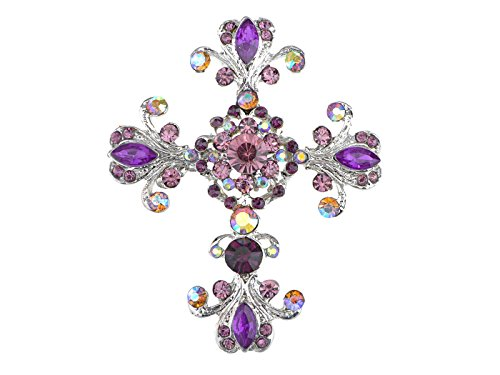 Alilang Silvery Tone Victorian Inspired Flourish Flower Clear Crystal Rhinestone God Cross Pin Brooch Purple -