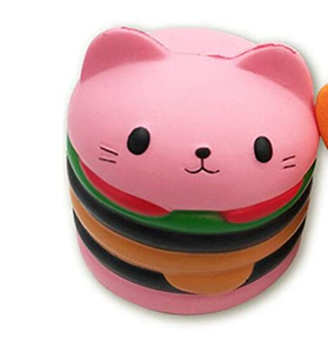 YLLY Juguetes para gato de dibujos animados de hamburguesa, para niños y adultos (rosa