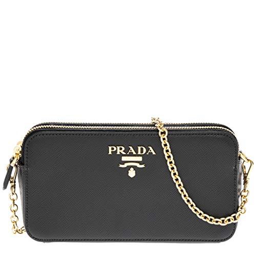 Prada Women's Saffiano Leather Mini Double Zip Shoulder Bag