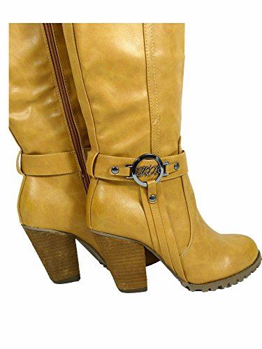 KAYS Knee ALL Women Size Faux 8 Block Ladies Bikers High Leather 3 Tan Tall Boots Heel Boots rrzdqA
