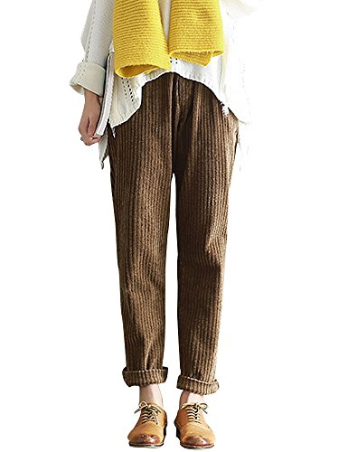 Women's Elastic Waist Casual Loose Thick Corduroy Pants with Pockets Coffee Tag 3XL-US 10