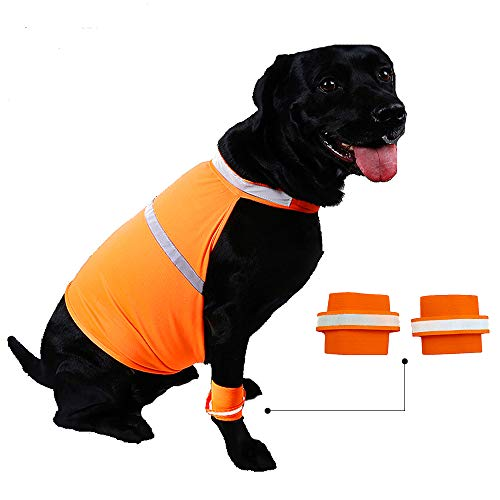 Reflective Bands Safety Leg - Petsidea Dog Reflective Safety Vest and Leg Bands Sets Highly Visible Light Weight Mesh Dog Vest for Outdoor Activity (Small, Orange)
