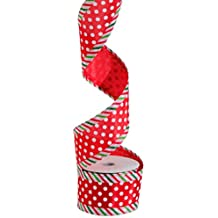 Polka Dot and Stripe Edging Wired Gift Basket Ribbon, 2.5 Inch X 10 Yards, Christmas Red, Green White
