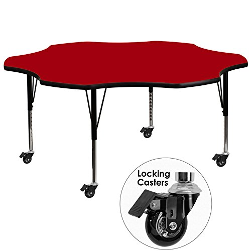 Flash Furniture Mobile 60-Inch Flower Shaped Activity Table with Red Thermal Fused Laminate Top and Height Adjustable Pre-School Legs