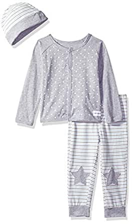 Calvin Klein Baby Boys 2 Pieces Cardigan Pant Set with HAT, Gray/Blue, 0-3 Months
