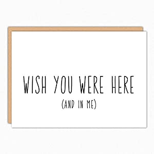 Missing You Card. Wish You Were Here. Miss You Boyfriend Gift. Long Distance Relationship Card. Naughty Thinking of You. Military Care Package.