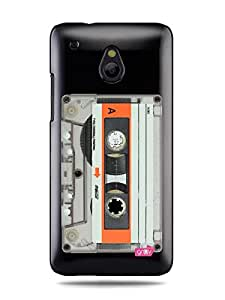 "GRÜV Premium Case - ""Retro Vintage Audio Music Tape Cassette 80s 90s"" Design - Best Quality Designer Print on Black Hard Cover - for HTC One Mini M4 601e 601"