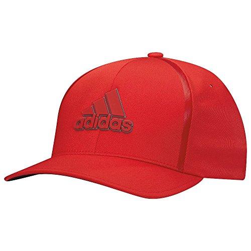 Adidas 2017 Tour Delta Flex-Fit Textured Structured Hat Mens Stretch Golf Cap Scarlet Large/XL
