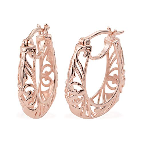 14K Rose Gold Over Brass Hoops Hoop Earrings For Women for Girls Hypoallergenic Gift Jewelry ()
