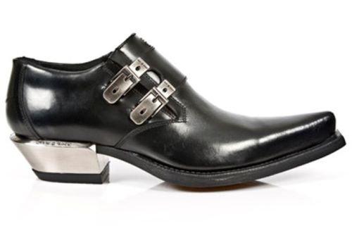 Newrock New Rock 7934 Leather 1 Black Metallic Scarpe Tacco Fibbia Occidentale Acciaio Boot
