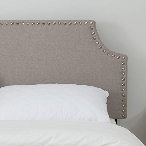 LAGRIMA Upholstered Linen Full/Queen Size Headboard with Decorative Nailhead Trim and Curved Shape Adjustable Height in Khaki Fabric