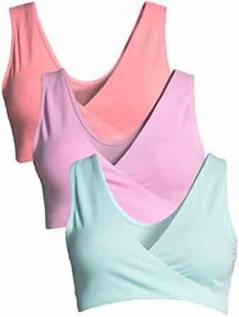 ffdfee043 Lamaze Intimates Women s 3 Pack Maternity Overnight Nursing Wide Band  Shoulder Straps Bra Beach Blossom