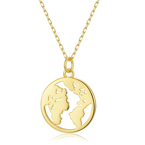 Climate Change Awareness [925 Sterling Silver w/18K Gold Plating] Necklace - Pro Globe/Save The Planet - Eco-Friendly Jewelry Also for Digital Nomad Women w/Wanderlust