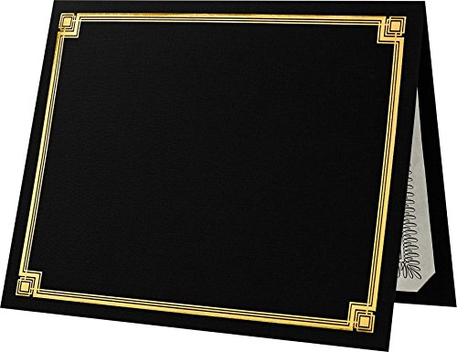 Diploma Holder Gold (Certificate Holders (9 1/2 x 12) - Black with Gold Foil (50 Qty.) | Perfect for Award Recognition, Certificates, Documents and More! | CHEL-185-DDBLK100-F-50)