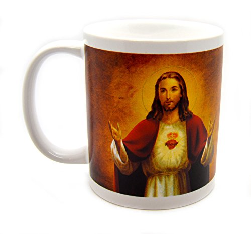 (Sacred Heart Morning Offering Prayer Ceramic Mug Religious Picture Design Around the Coffee Cup)