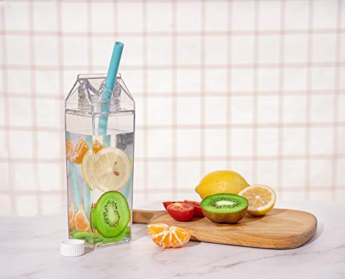 Klare Milchkarton Wasserflasche, Auslaufsichere Fitness Trinkflasche, Transparente Plastikflasche 500ml / 1000ml (1 Packung mit Strohhalmen - 500 ml)