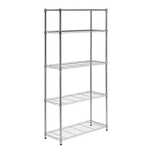 Chrome Adjustable Steel Storage Shelving Unit With Brilliant Chrome Finish, Heavy-duty Steel, Sturdy And Rust-resistant by Jaxterrific