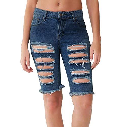 - FIRERO Women High Waist Jeans Hole Jeans Sexy Solid Button Pocket Slim Tassel Pirate Shorts Blue