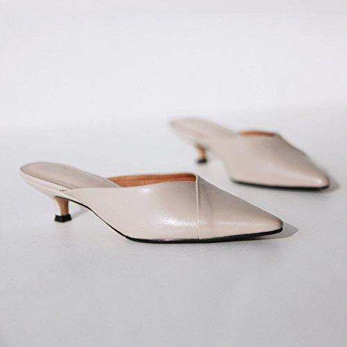 AJUNR Moda/elegante/Transpirable/Sandalias Zapatos de mujer la punta delgada y ligera Baotou albaricoque 6cm de alto-Heel Shoes 39 37
