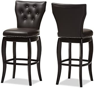Baxton Studio Leonice Dark Faux Leather Upholstered Button-Tufted Swivel Barstool Set of 2