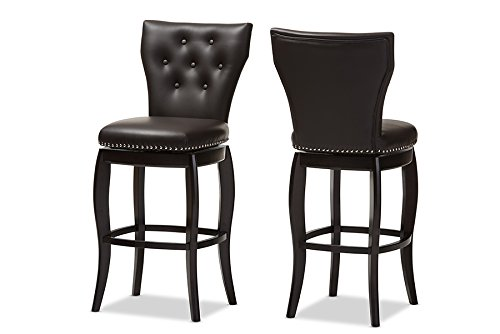 Baxton Studio Leonice Dark Faux Leather Upholstered Button-Tufted Swivel Barstool Set of 2 , 29 , Brown