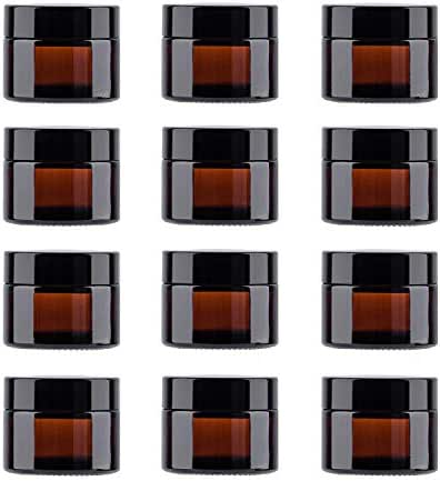 Snow Diamond 50ml 1.75 oz Empty Amber Round Glass Jars, with White Inner Liners and black Lids, High End Glass Containers for Salve Cream, Premium Vials (50ml / 1.7 oz, 12 Pack)